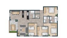 Apartment, separate toilet and shower/bathtub, 4 or more bed rooms