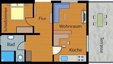 Apartment, shower, 1 bed room