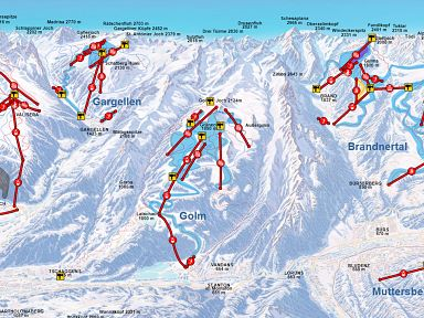 Ski panorama map Brandnertal